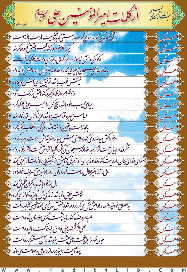 تصویر حدیثی : کلام نورانی علی علیه السلام